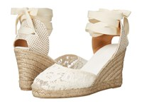 Soludos Tall Wedge Ivory Cotton Lace Women's Wedge Shoes White