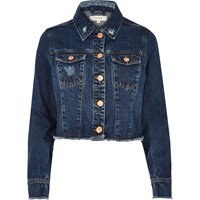 River Island Womens Dark Blue Wash Frayed Hem Denim Jacket
