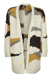 Topshop Hand Knitted Patchwork Cardigan Ivory