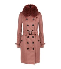 Burberry The Sandringham Fur Collar Trench Coat Female Rose