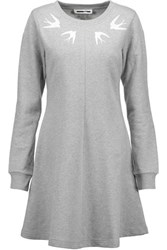 Mcq By Alexander Mcqueen Embellished Cotton Mini Sweater Dress Gray