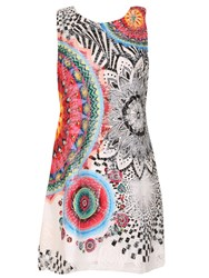 Izabel London Net Shift Dress With Psychedelic Print Red