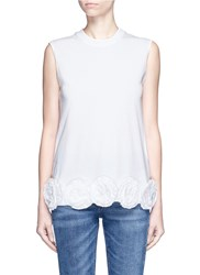 Victoria Beckham 3D Flower Applique Sleeveless Tank Top White