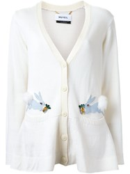 Muveil V Neck Embellished Cardigan White