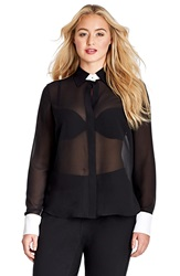 Mynt 1792 Contrast Trim Sheer Georgette Tailored Shirt Plus Size Black White