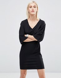 Asos Mini T Shirt Dress With Kimono Sleeve Black