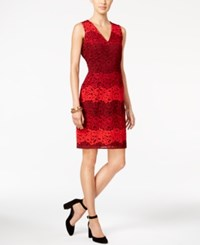 Tommy Hilfiger Ombre Floral Lace Sheath Dress Red