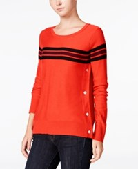 Maison Jules Striped Button Detail Sweater Only At Macy's Loving Red Combo