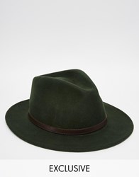 Reclaimed Vintage Fedora With Leather Detail Green