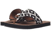 Acorn Artwalk Leather Flip Black Cream Southwest Women's Sandals