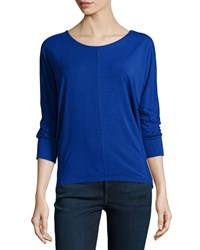 Joan Vass New York Dolman 3 4 Sleeve High Low Tee Electric Marine