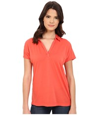 Three Dots Cap Sleeve Polo Poppy Coral Women's Short Sleeve Pullover Red
