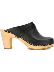 Swedish Hasbeens Stitch Detail Mules Black