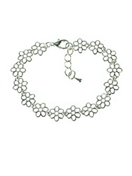 Indulgence Shiny Silver Plated Flower Bracelet