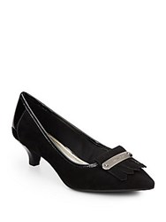 Ak Anne Klein Suede And Patent Leather Pumps Black