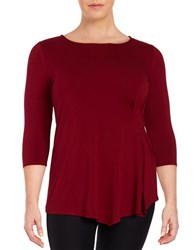 Vince Camuto Plus Side Ruched Top Red