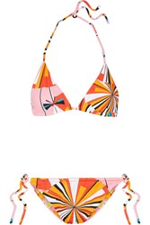 Emilio Pucci Reversible Printed Triangle Bikini Orange