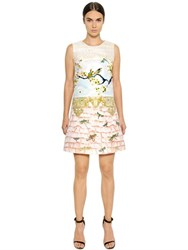 Piccione.Piccione Birds Printed Ottoman And Tweed Dress