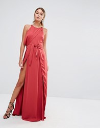 Style Stalker Stylestalker Tie Front Maxi Dress With Thigh Split Red