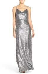 Women's Jenny Yoo 'Jules' Sequin Blouson Gown With Detachable Back Cowl Charcoal