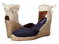 Soludos Tall Wedge Linen Navy Women's Wedge Shoes