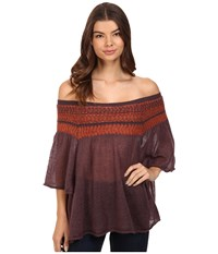 Free People Lock Lomand Off The Shoulder Top Purple Combo Women's Clothing