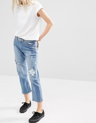 Cheap Monday Mid Rise Straight Cropped Jeans With Distressing Editor Blue