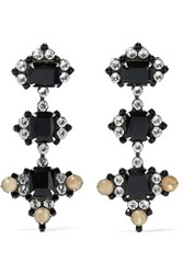 Dannijo Avila Oxidized Silver Plated Swarovski Crystal Earrings Silver Black