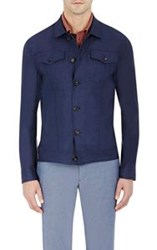 Luciano Barbera Chambray Jacket Blue