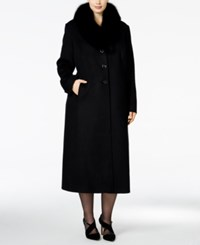 Forecaster Plus Size Fox Fur Collar Maxi Coat Only At Macy's Black