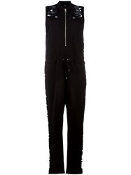 Diesel Sheer Shoulders Zipped Jumpsuit Black