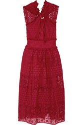 Oscar De La Renta Ruffle Trimmed Broderie Anglaise Cotton Midi Dress Red