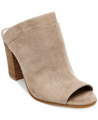 Madden Girl Norma Block Heel Mules Women's Shoes Taupe