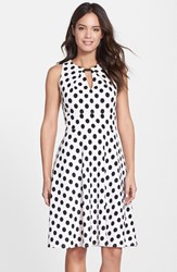 Women's Donna Ricco Polka Dot Fit And Flare Dress