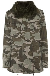 Mr And Mrs Italy Shearling Trimmed Camouflage Print Cotton Canvas Parka Army Green