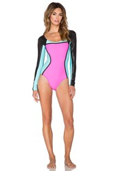 Pilyq Color Block Long Sleeve One Piece Black