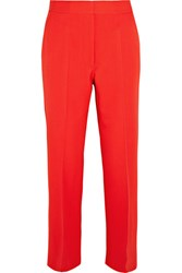 Stella Mccartney Eden Cropped Wool Crepe Flared Pants Tomato Red
