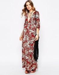 First And I 70S Paisley Kimono Sleeve Plunge Maxi Dress Print