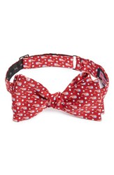 Vineyard Vines Men's 'Stars And Whales' Print Silk Bow Tie Red