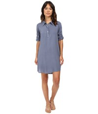 Allen Allen High Low Shirtdress Blue Haze Women's Dress
