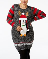 It's Our Time Trendy Plus Size Penguin Holiday Tunic Sweater Black Marled