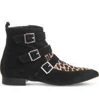 Office Lightning Leather And Suede Ankle Boots Black Leopard