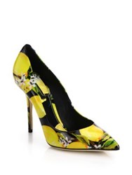 Dolce And Gabbana Lemon Print Patent Leather Pumps Black Yellow