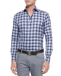 Ermenegildo Zegna Large Plaid Woven Sport Shirt Navy
