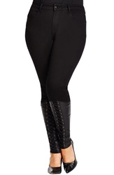 City Chic 'Lace Up' Stretch Skinny Jeans Black Plus Size