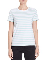 Lord And Taylor Petite Striped Roundneck Tee Aqua Splash