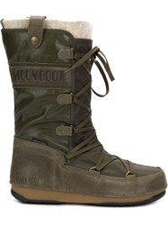 Moon Boot Lace Up Boots Green