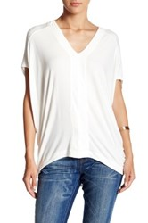H By Bordeaux V Neck Dolman Sleeve Tee White