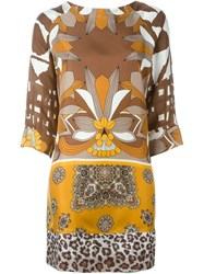 Pierre Louis Mascia Pierre Louis Mascia Mixed Print Dress Brown