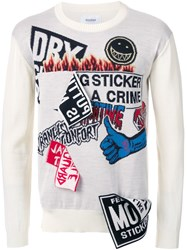 Doublet Patched Contrast Sleeve Jumper White